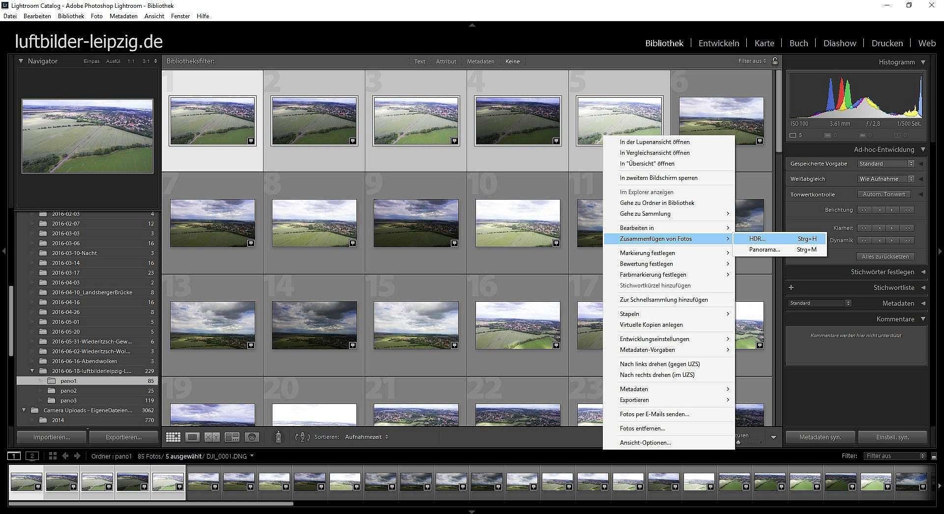 Luftbildpanorama Erstellen - HDR Modus aufrufen
