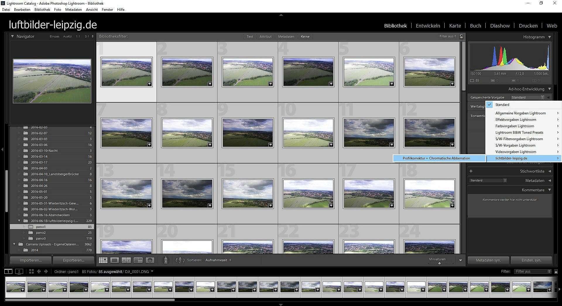Luftbildpanorama Erstellen - Presets in Lightroom anwenden